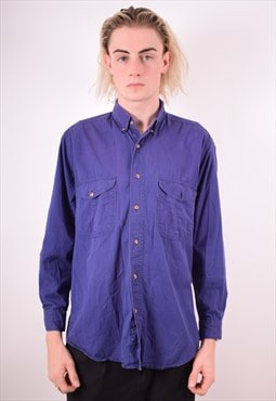 Mens Vintage Shirt Medium Blue 90s