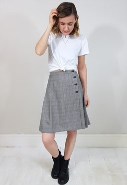 Vintage 90's Black and White Checked Wrap Button Mini Skirt