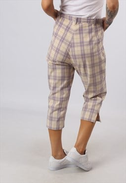 High Waisted Trousers Tartan Checked Wide Tapered  (E82J)