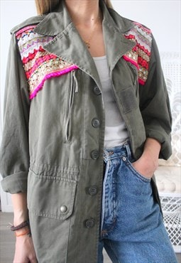 Vintage jacket military ethnic embroidery