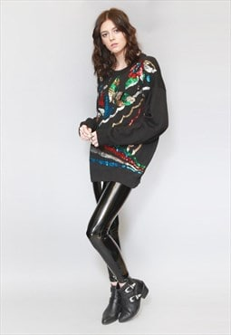 Vintage 1980's Black Westen Connection Floral Sequin Jumper.