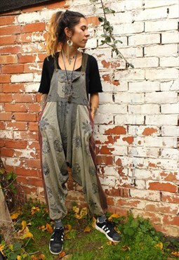 Fairtrade Grey & Faded Red Block Print Overalls Dungarees