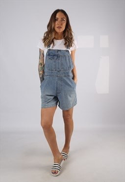Vintage Denim Dungaree Shorts UK 12 Medium (HD1U)