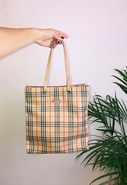 Vintage Burberry 90s Nova Check Tote Bag