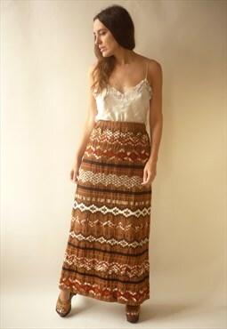 Vintage 1970's Brown Velvet Embroidered Maxi Skirt