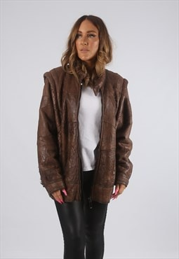 Vintage Sheepskin Leather Shearling Coat Short UK 12 (H4I)