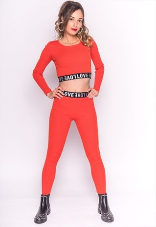 ORANGE CROP TOP AND LEGGINGS CO-ORD WITH LOVE LOGO