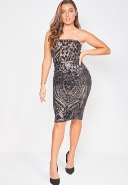 Chic black nude strapless sequin illusion midi pencil dress