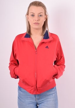 Adidas Womens Vintage Tracksuit Top Jacket Small Red 90s