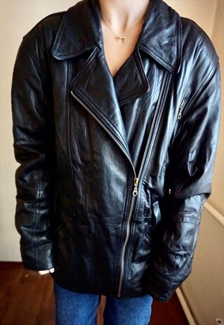 Vintage Classic Biker Black Leather Jacket