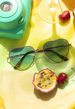 Blue Heart Wire Frame Sunglasses