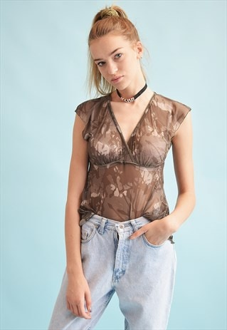 90'S RETRO CAMO PRINT MESH SHEER KITSCH PARTY TOP