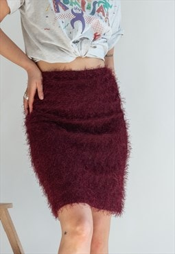 Vintage 90s Y2K fluffy skirt in purple
