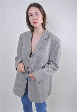70s gray oversize cotton plaid blazer