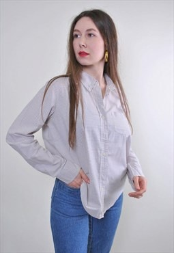 Women vintage casual paid grey blouse with long sleeve