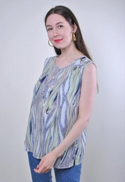 Abstract print women vintage green striped tank top