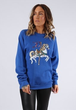Sweatshirt Jumper CUTE Horse Print Oversized UK 14 (G9DV)
