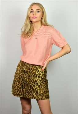 Vintage 90s Grunge Leopard Print High Waisted Mini Skirt