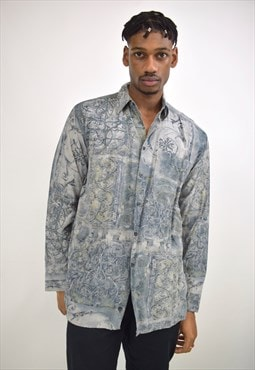 Vintage 90s Blue Grey Printed Shirt