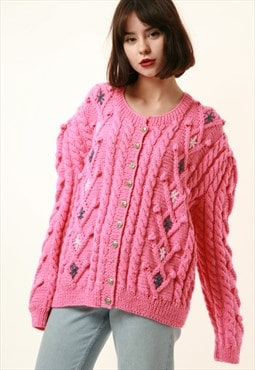 Vintage Pink Handknitted Butttons Up Jumper Sweater 1226