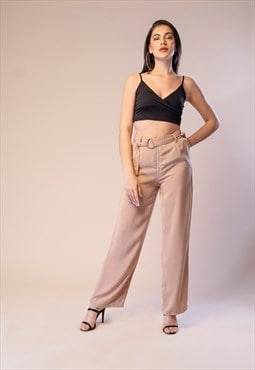Pursuit - Nude Wide Leg Trouser