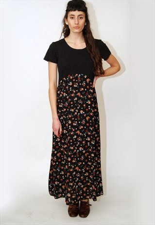 FLORAL MAXI DRESS (L) VINTAGE 80S ROSE GOTH GRUNGE 90S GOWN