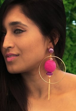 Gold Hoop And Magenta Threadball Statement Earrings