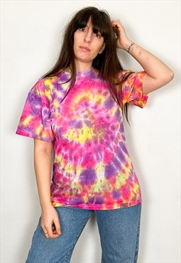 Vintage Tie Dye Pink, Yellow & Purple Tee