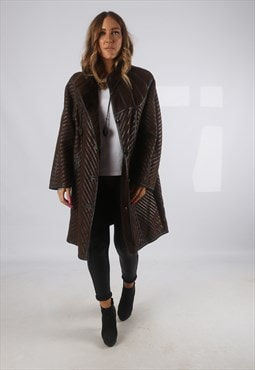 Vintage Sheepskin Suede Leather Shearling Coat Short (JH4H)
