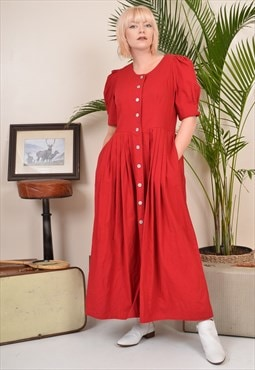 Vintage 80s Button-through Long Sleeve Maxi Dress Red