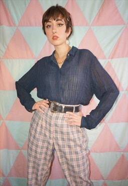 Vintage 90s Navy Blue Sheer Pinstripe Viscose Shirt