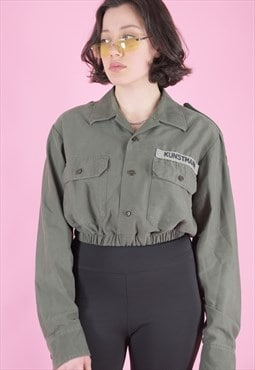 Vintage Reworked Crop Army Shirt in Army Green with Patches