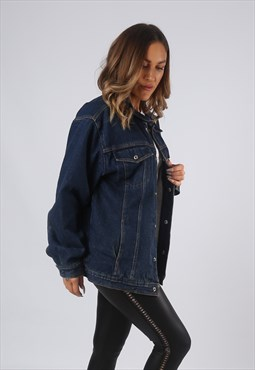 Vintage Denim Jacket Oversized Fitted Lined UK 14-16 (O1U)