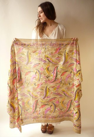 VINTAGE NOVELTY DOLPHIN & FISH PATTERN COTTON SCARF SARONG