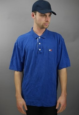 Vintage Tommy Hilfiger Polo Shirt in Blue with Logo
