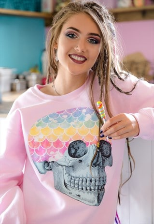 OVERSIZED SWEATER IN PINK WITH MERMAID RAINBOW SKULL PRINT