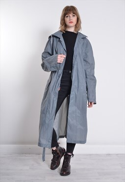 Vintage K-Way Long Length Rain Mac Jacket Grey