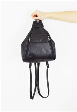 Navy Blue Faux Leather Rucksack Bag
