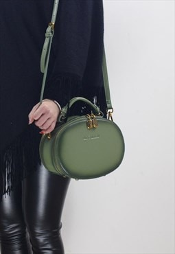 Leather Double-Zipper Circle Shoulder Bag Tote Bag For Women