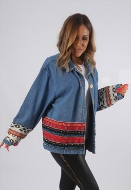 Vintage Denim Jacket Oversized Boxy Patterned UK 16 (82R)