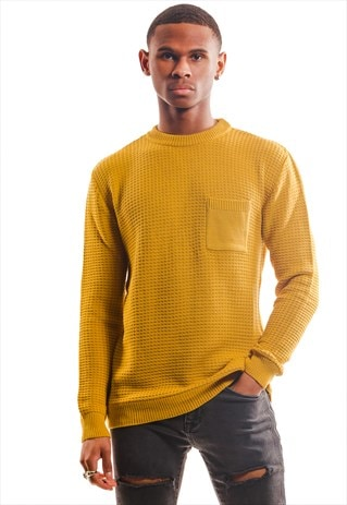 KNITTED SWEATER WITH POCKETS - MUSTARD