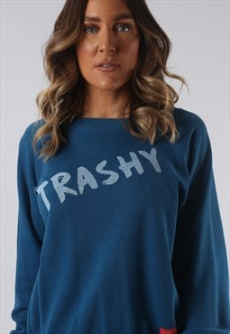Sweatshirt Top Jumper BICH REBORN Trashy Print UK 8 (HKDR)