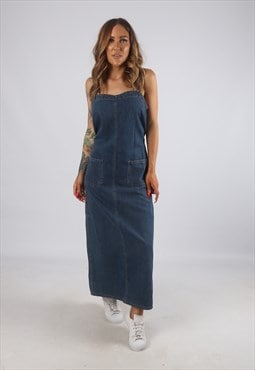 Vintage FADED GLORY Denim Dress Long UK 14  (H2B)