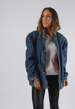 Vintage Denim Bomber Jacket Oversized UK 20 3XL (JRBX)