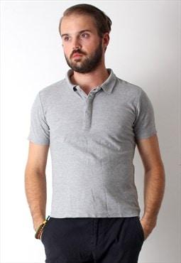 90's Casual Basic Sweatshirt Short Sleeve Button Up Men Polo