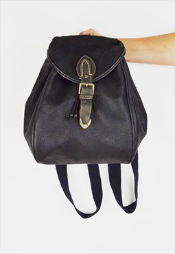 Black Faux Leather Rucksack Bag