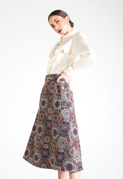 Multicolor Cotton Midi Skirt with Pockets
