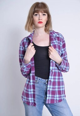 Vintage LEE Fleece Lined Check Flannel Shirt Purple