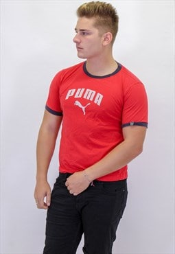 Vintage Puma T-Shirt in Red with Logo
