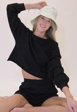 Vintage cropped sweatshirts and shorts set